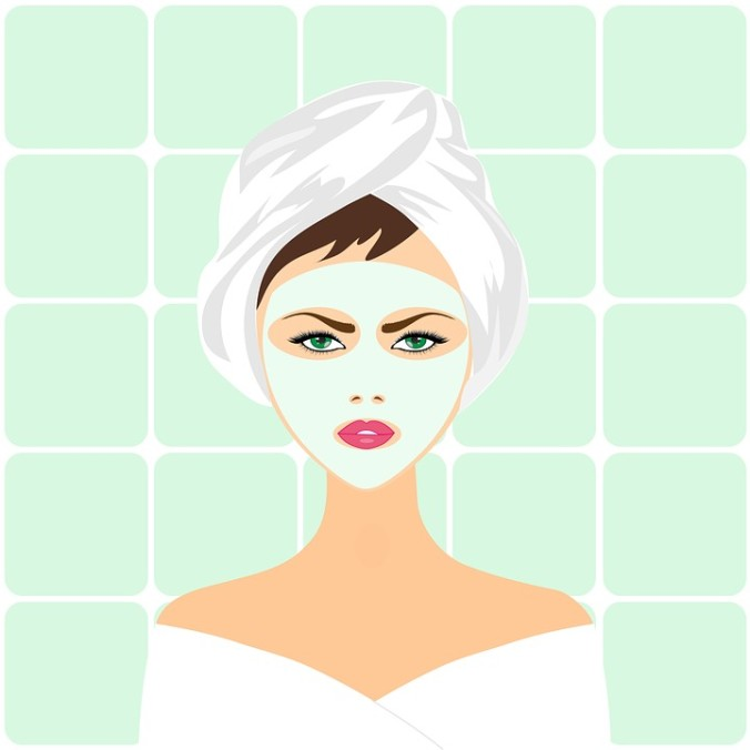 woman with facial mask cartoon