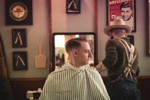 a barber working